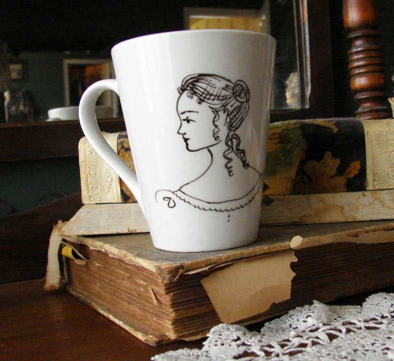 Hand Painted Lizzie Bennet Jane Austen Mug