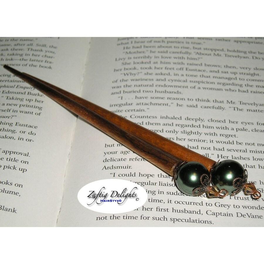 HairStyx - Hair Sticks for Long Hair - Green Glass Pearls on Koa Wood w Swarovski