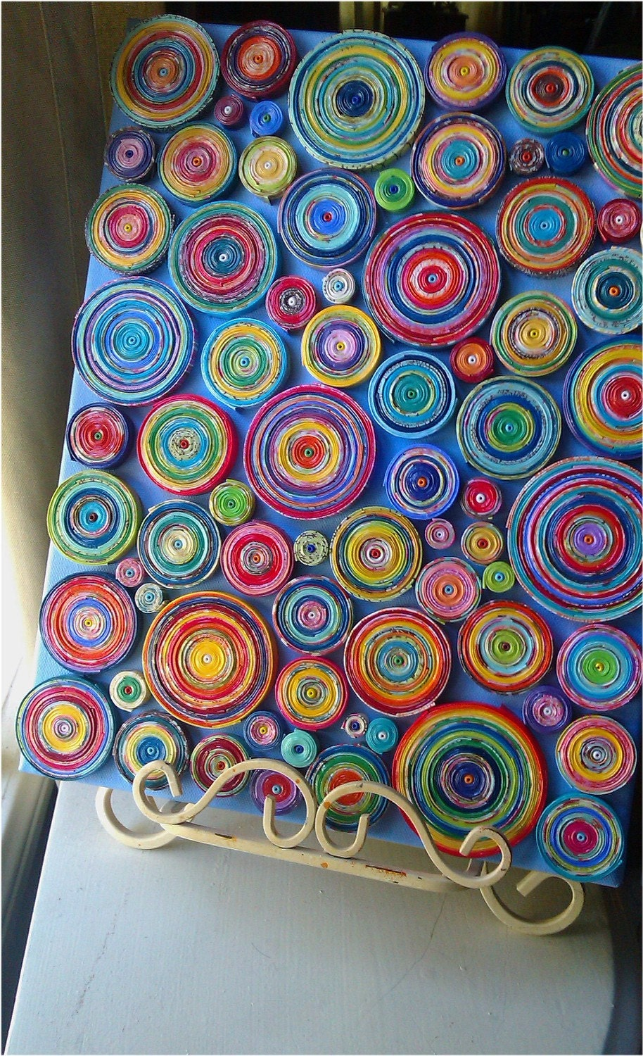 paper coils art canvas covered in coils 11x14