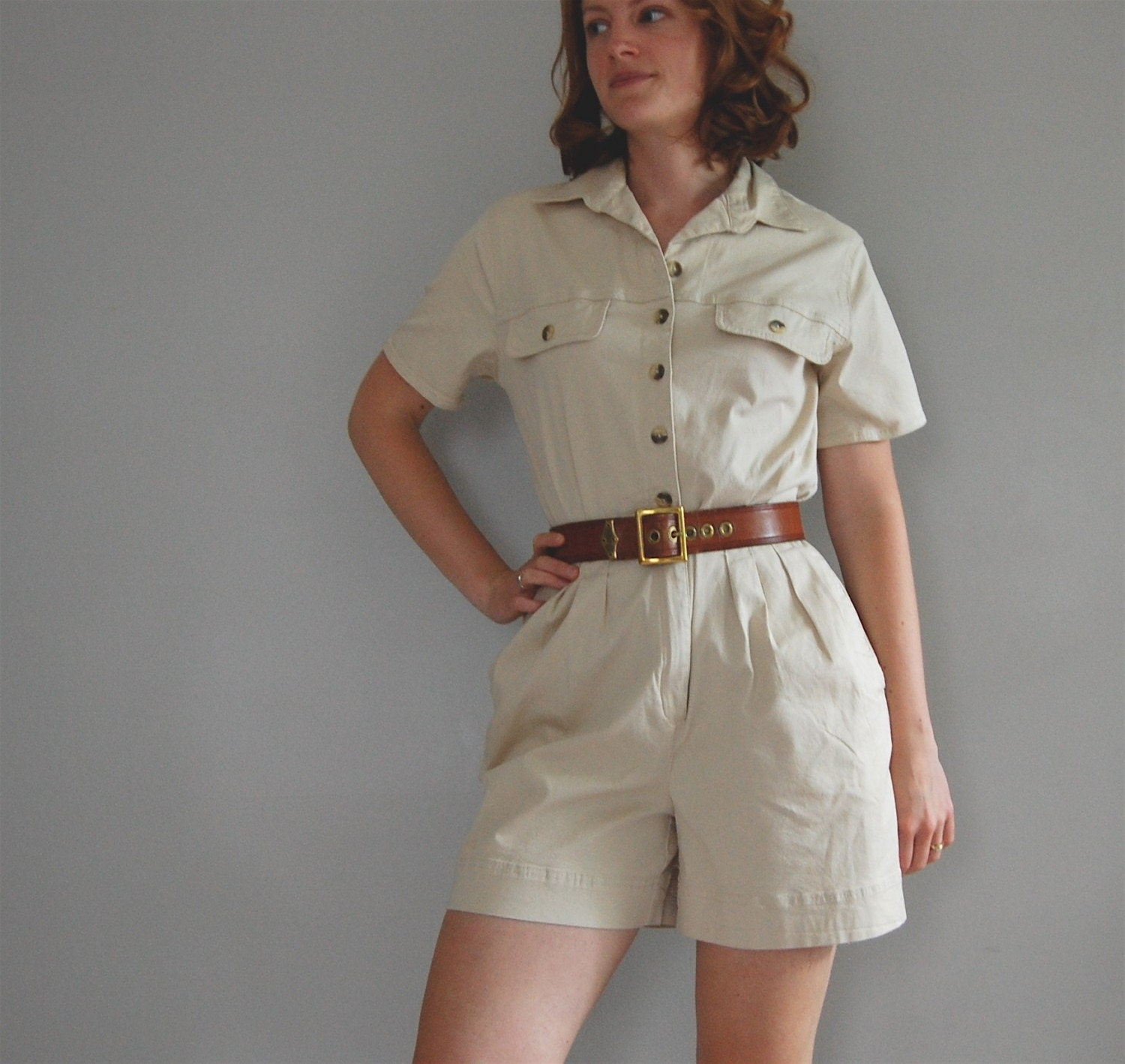 vintage SAFARI khaki cotton romper