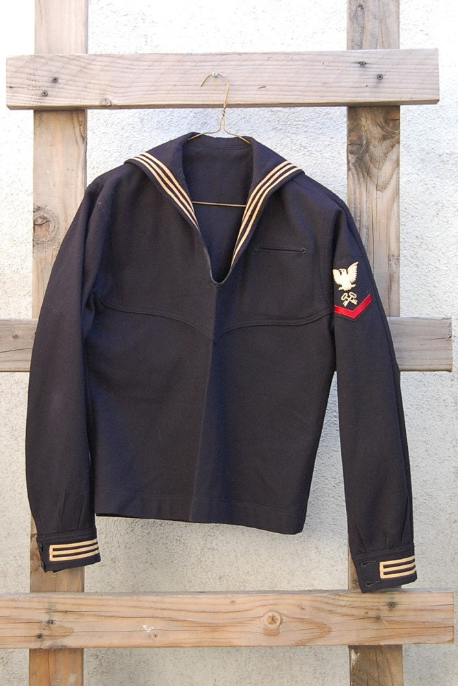 Vintage Rare US Navy Wool Sailor Uniform - Size Medium