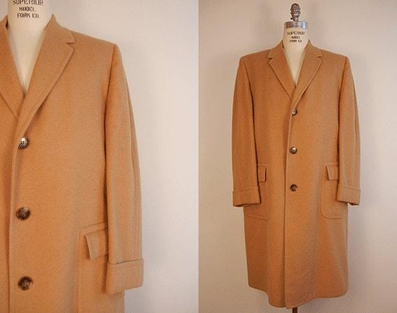 Vintage Mens Cashmere Coat / 1960s Camel Cashmere Overcoat