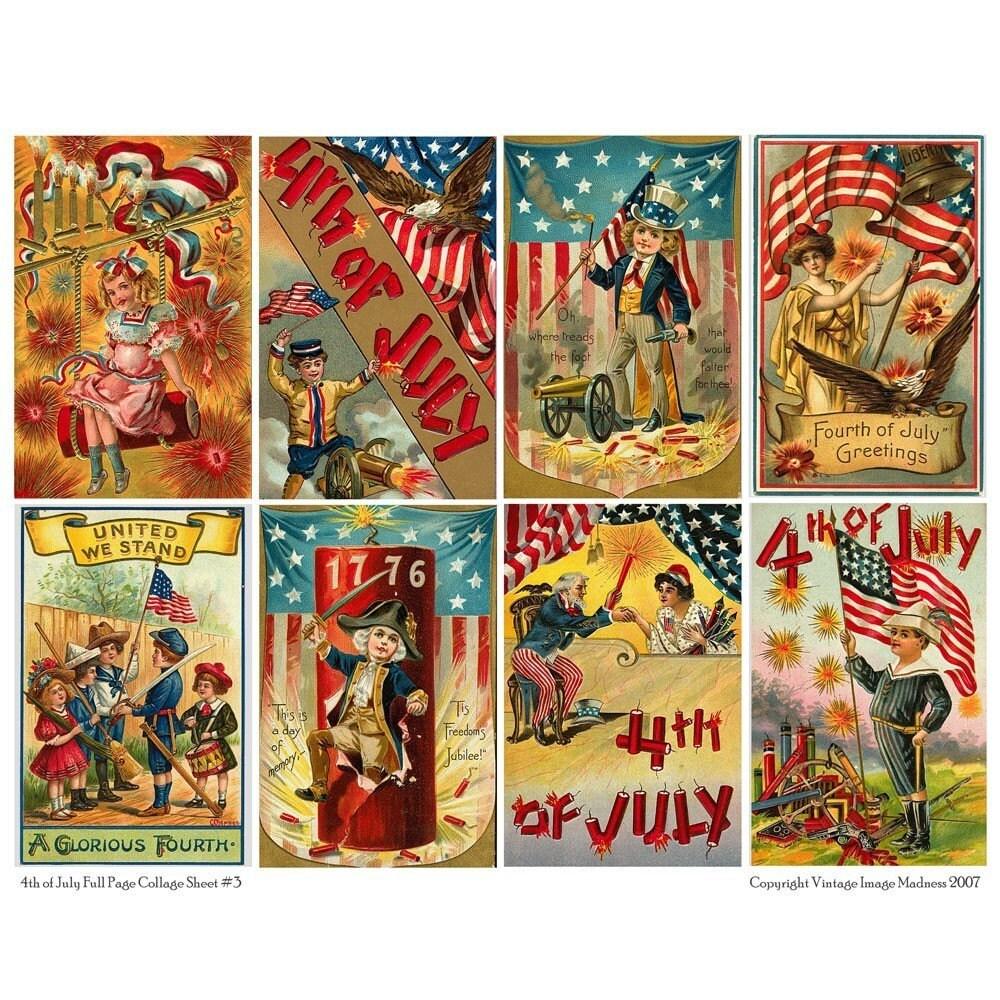 4th of july vintage postcards 3 by vintageimagemadness on etsy. Black Bedroom Furniture Sets. Home Design Ideas