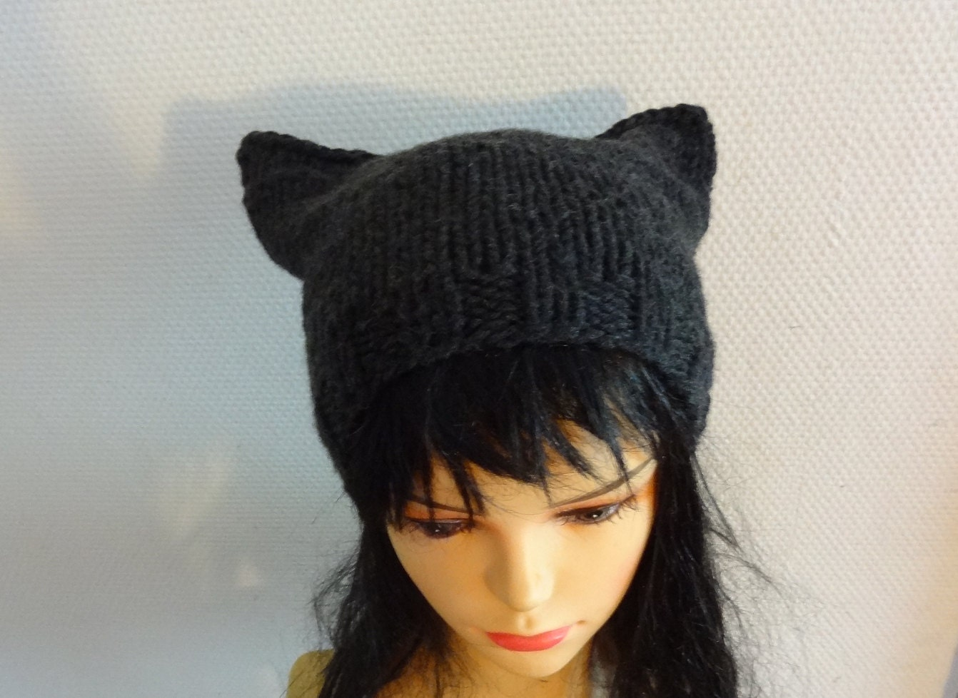 Knitting Patterns For Hats With Cat Ears : Cat Ears Hat Cat Beaie Chunky Knit Winter Accessories by Ifonka