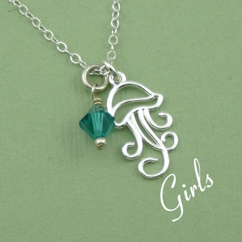 jellyfish necklace sterling silver birthstone by