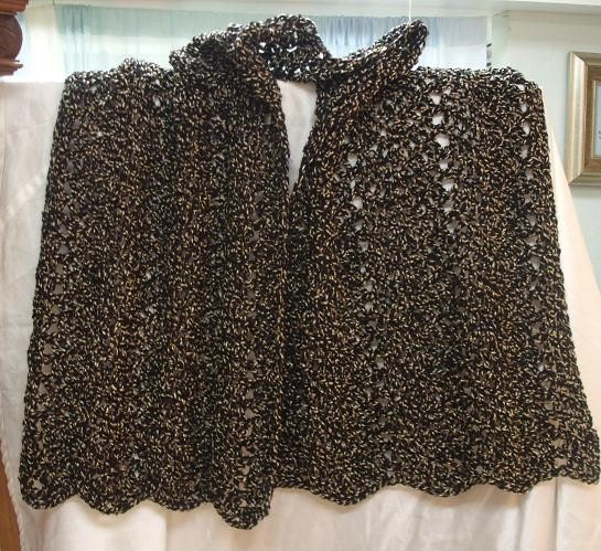 Black and Tan Hand Crocheted Shawl