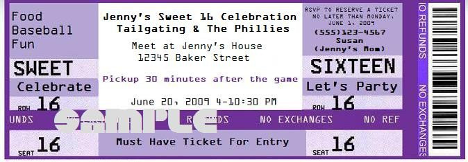 Create your very own fake concert ticket party invitations ideas for Make your own concert tickets