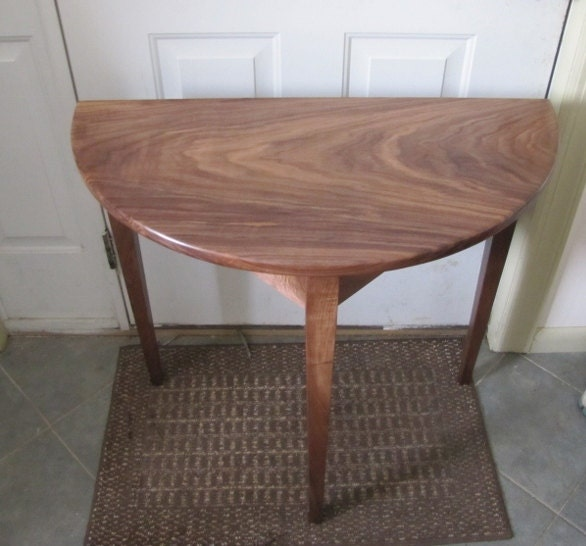 demi lune table wood furniture black walnut or cherry made to order
