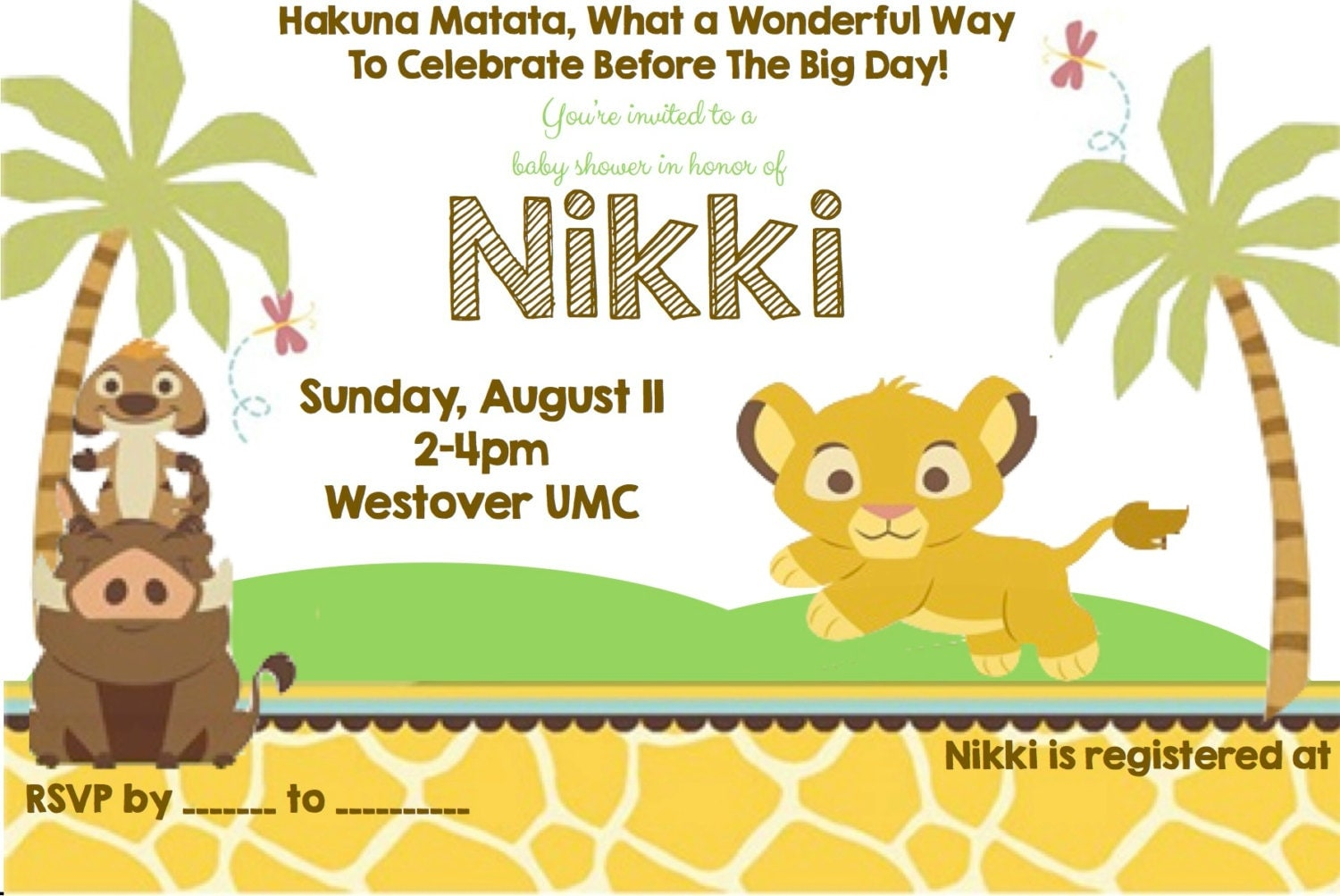 Lion King Themed Baby Shower Invitations with beautiful invitation template