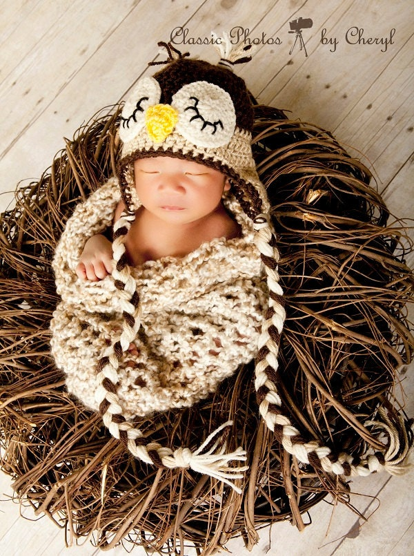 Crochet Owl Baby Cocoon : Crochet Baby Cocoon & Owl Hat Photo Prop Set. Free shipping within the ...