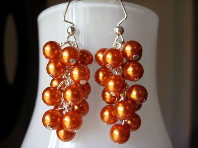 Burnt Orange Pearl Cascade Earrings