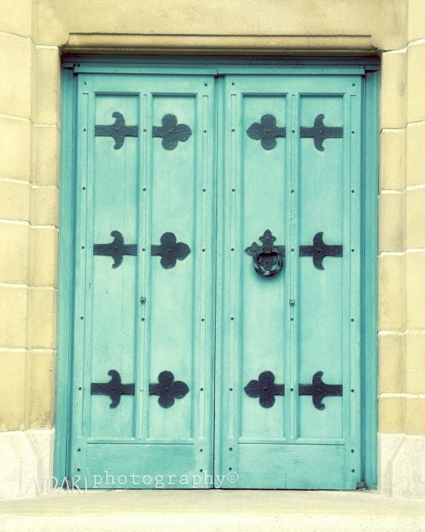 Turquoise Door - 8x10- Fine Art Photography by Aldari, Blue, Vintage, Door, Puerta, Azul