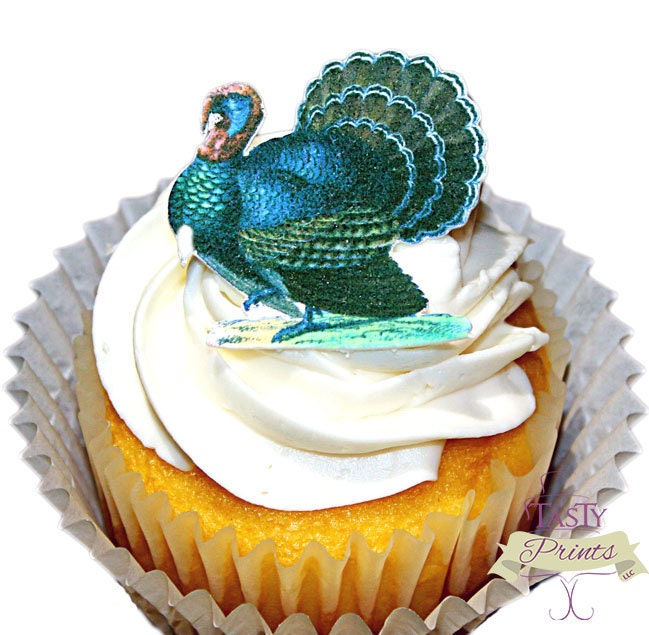 Edible Cake Images Thanksgiving : Turkey Edible Decoration 12 Cupcake Charms by TastyPrints