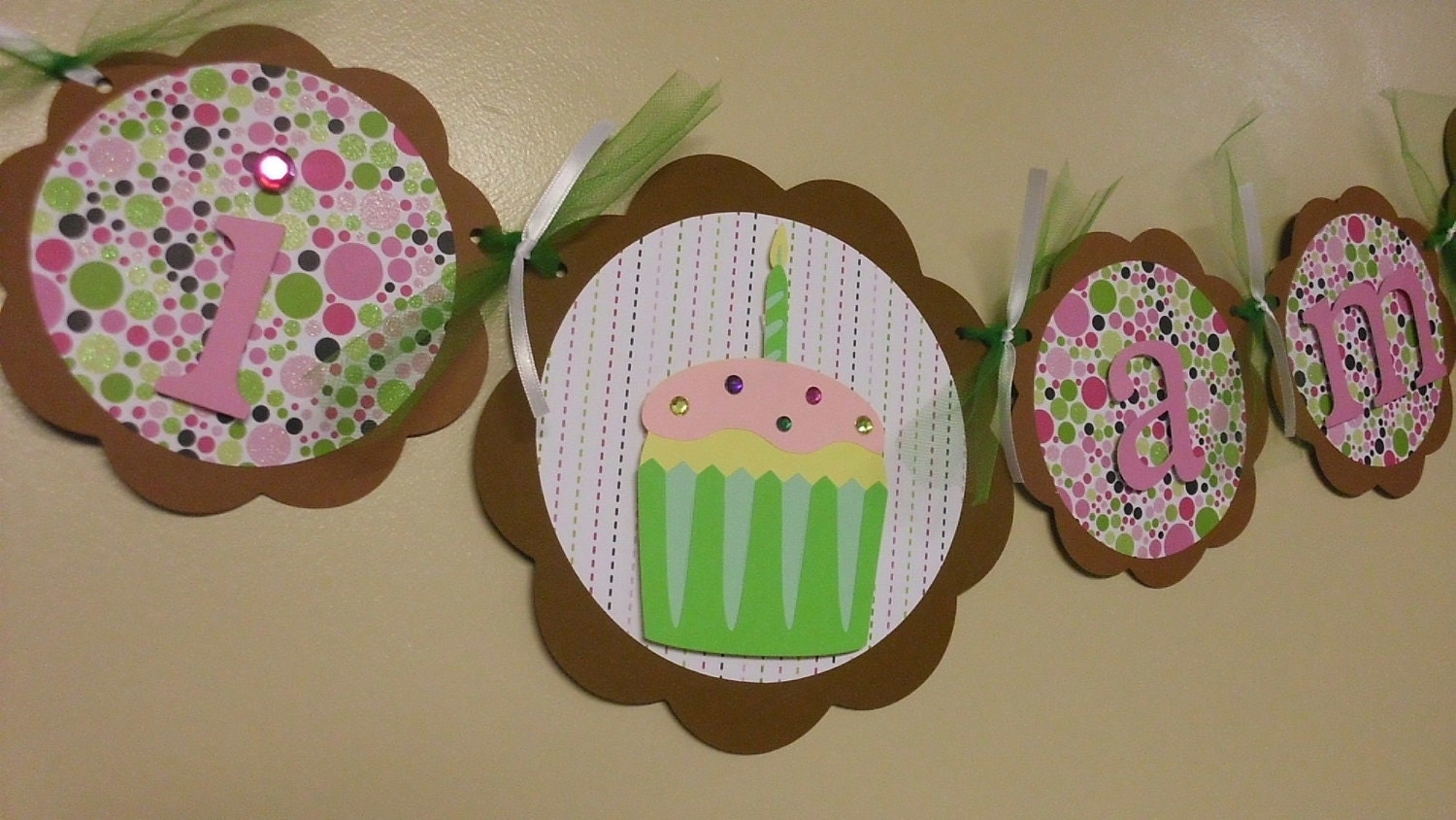 Cupcake Birthday Banner, First Birthday