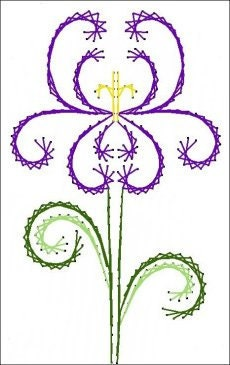 deco iris flower floral paper embroidery pattern for by darse