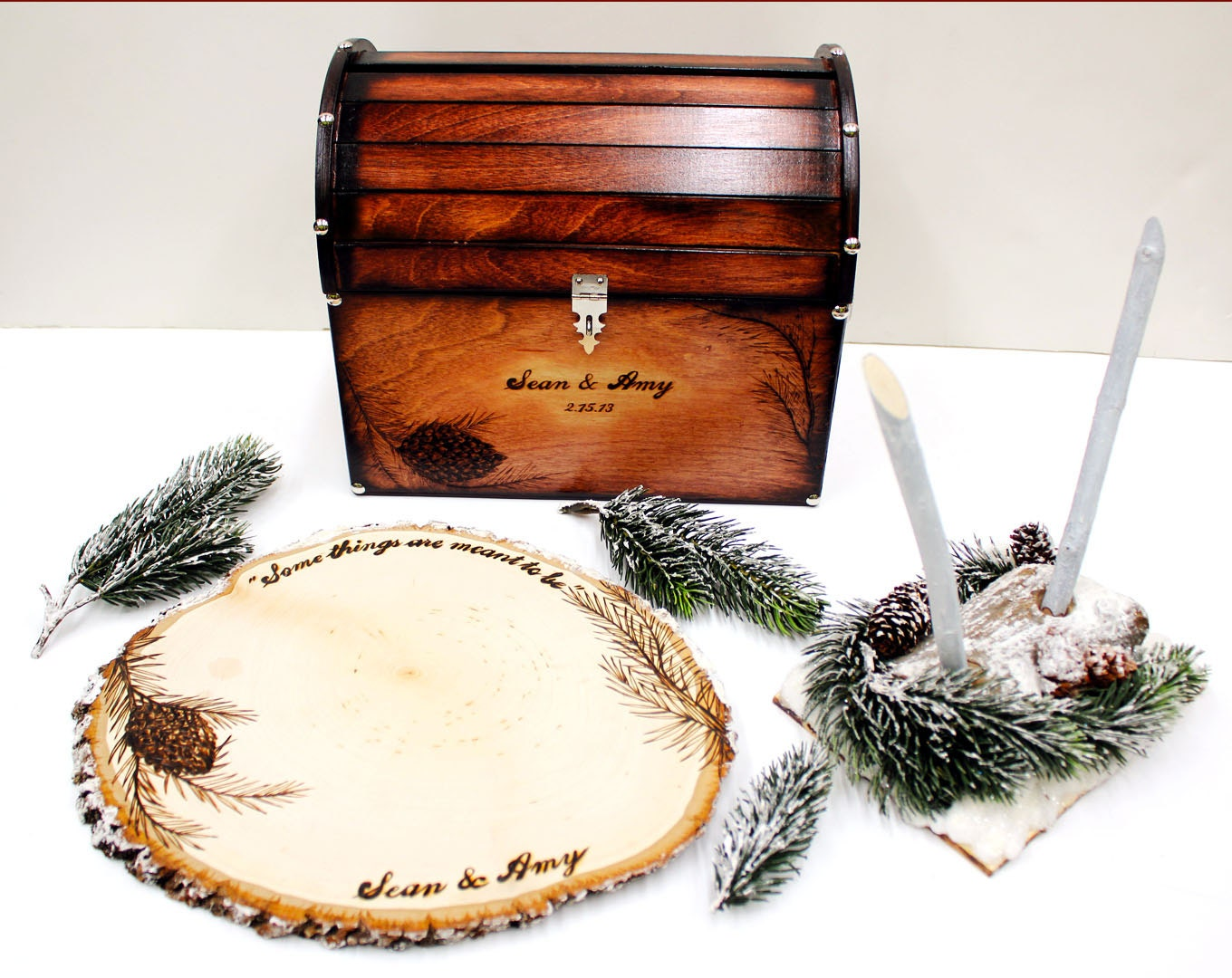 Items Similar To Winter Pine Cone Snow Theme Wedding Card Box Guest Book Pens COMPLETE SET On Etsy