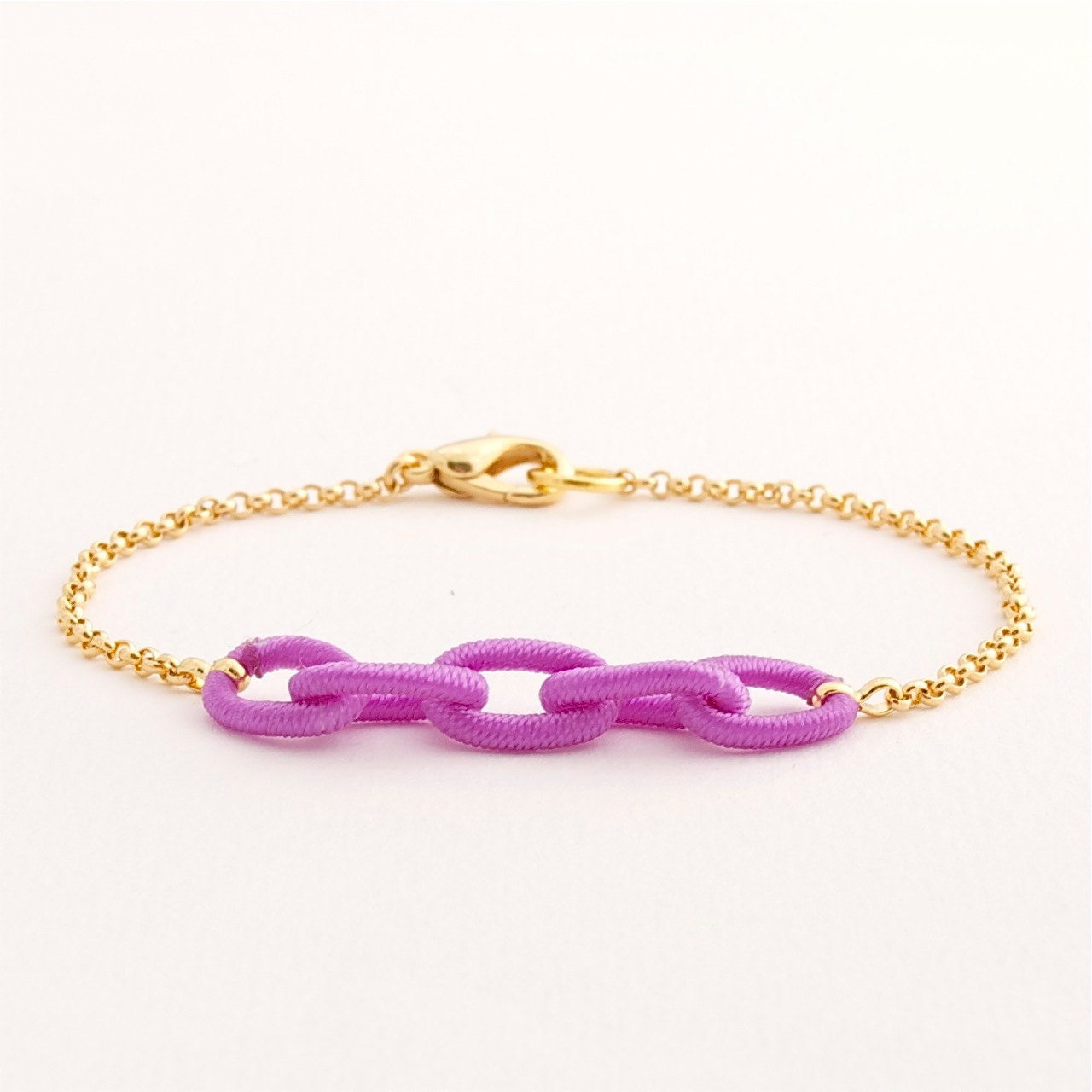 Colored & Gold Chain Bracelet . orchid purple . handmade jewelry by MoshPoshDesigns