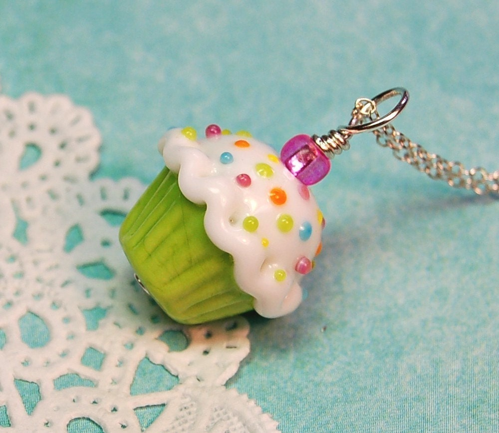 Lime Green Lampwork Sprinkle Cupcake Pendant - aStudiobytheSea