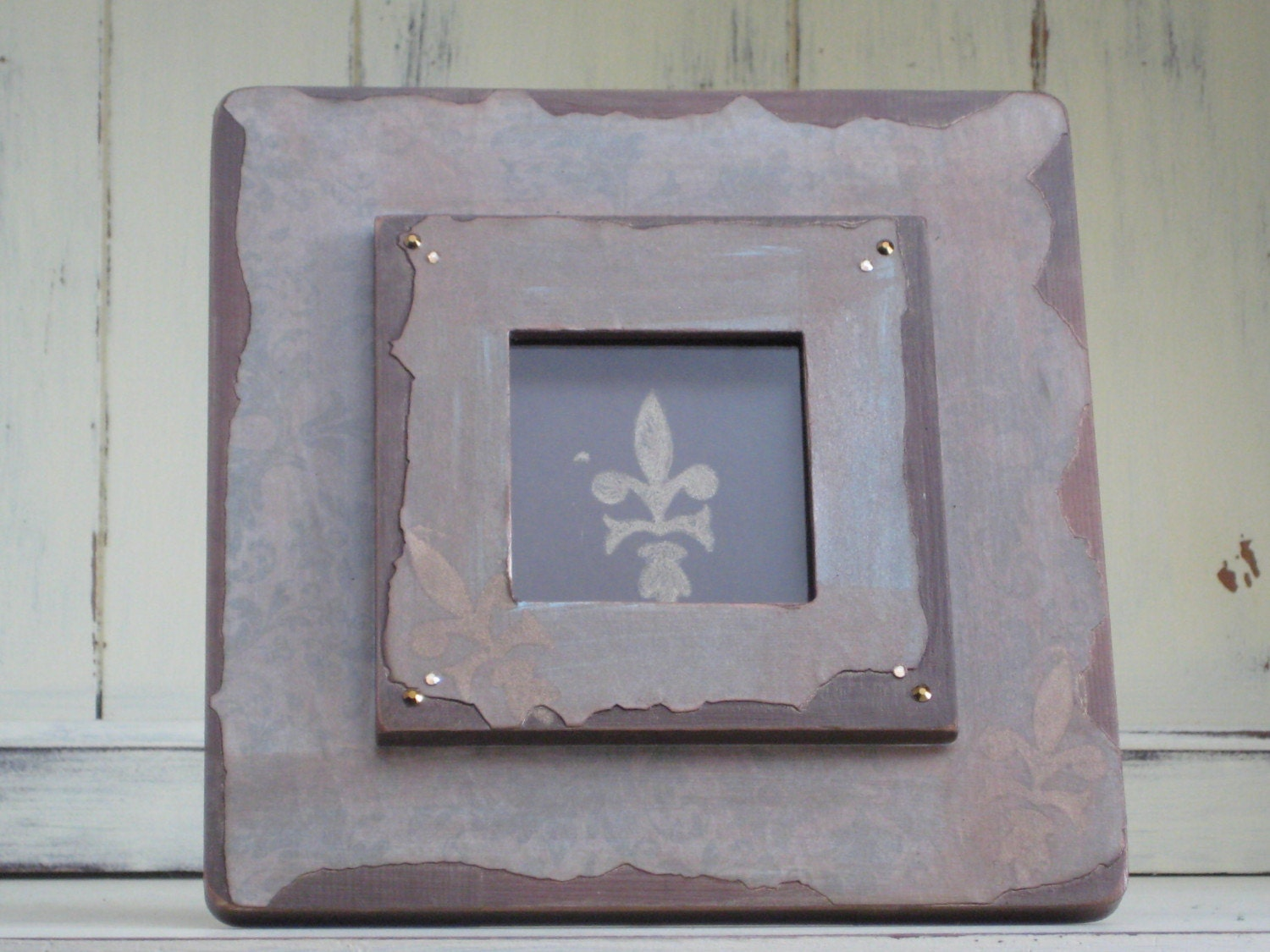 Handaltered Embellished Layered Wood Frame with Fleur de Lis Art