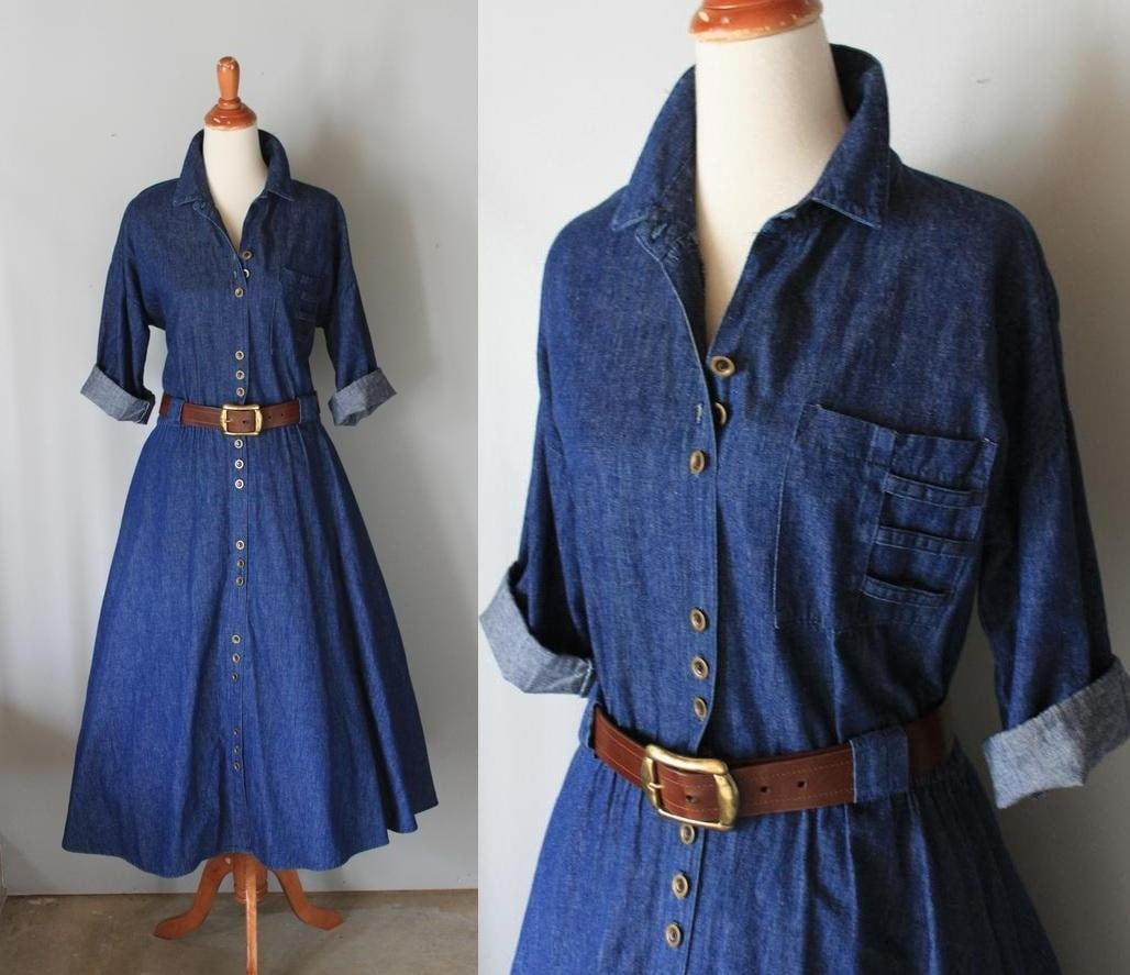 Vintage Chambray Shirt Dress Belted By Scottieinacanoe