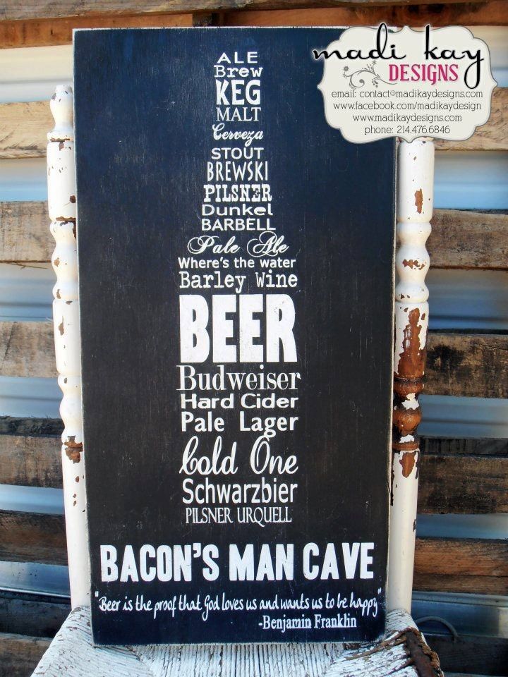 FREE SHIPPING Personalized Man Cave Sign,  Beer Sign, Bar Sign, Pub Sign, Vintage Bar Sign, Rustic Sign, Wedding Gift, Grooms Gift 12x24 - MadiKayDesigns