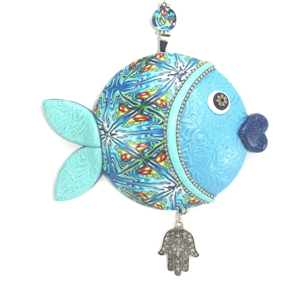 Wall decor fish of fortune ,lucky fish, Polymer clay handmade fish in blue, turquoise, green, white and silver - ShuliDesigns