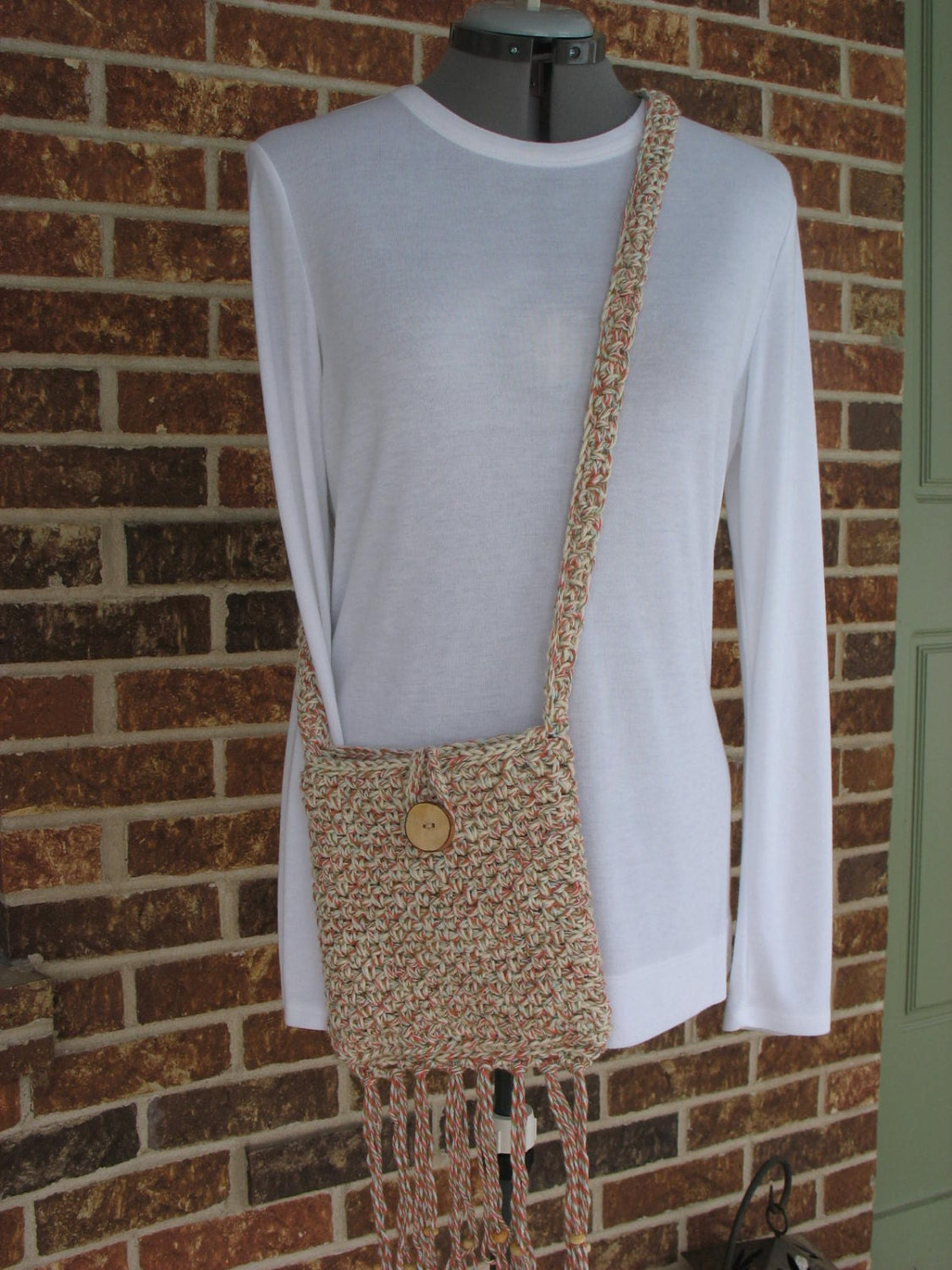 Crochet Cross Body Bag Pattern : Items similar to Crochet Cotton Cross- Body Bag with Fringe- Small ...