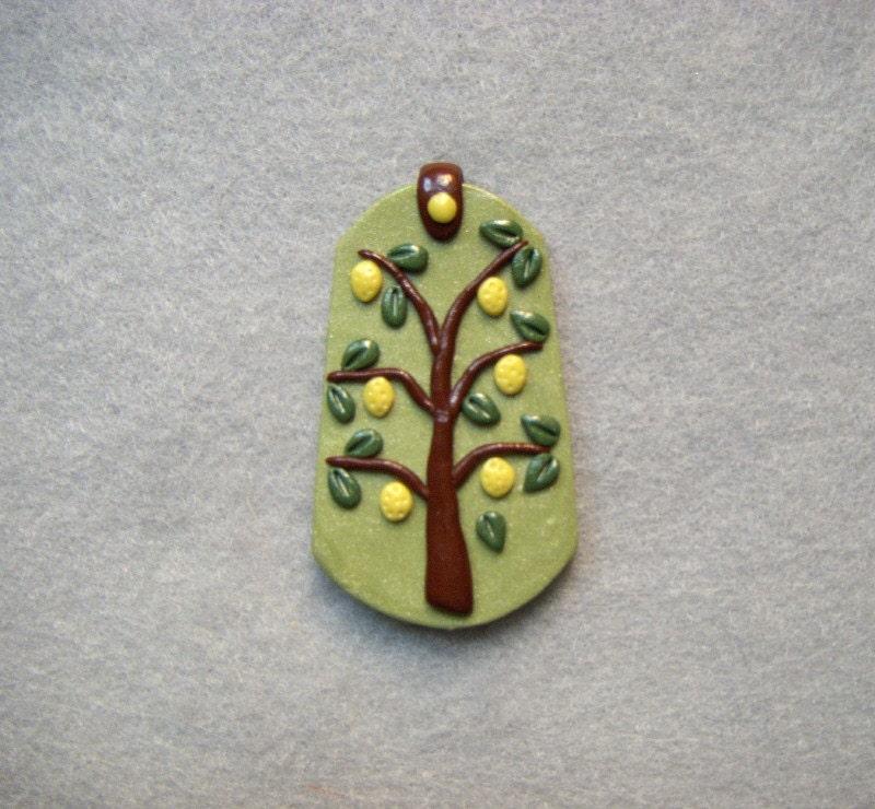 Polymer Clay Tree Pendant - LEMON TREE - robintheraven