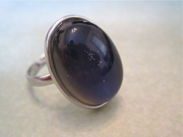 vintage mood ring glass silver tone band by spectrumvintage