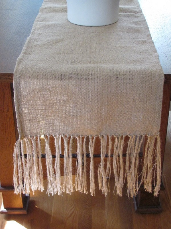 "Burlap Table Runner With Fringe 18""x72"""