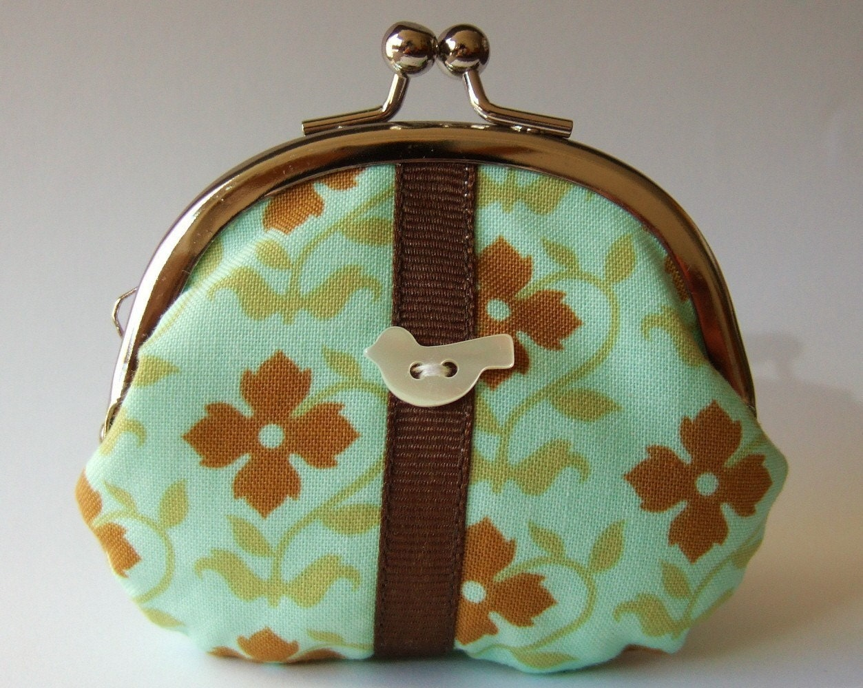 mini frame pouch - brown flowers on mint green with bird button