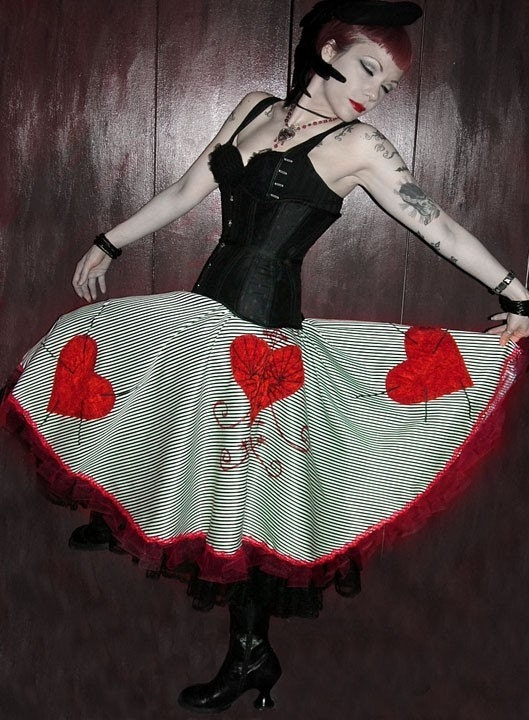 Custom Made in YOUR SIZE Erzulie Voodoo Heart Dark Circus Black and White Striped Circle Skirt