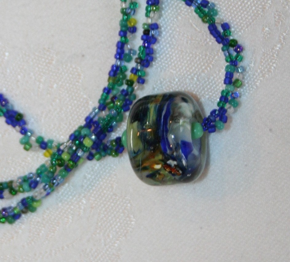 Coco Bleu Tourbillonner Lampwork and Seed Bead Necklace