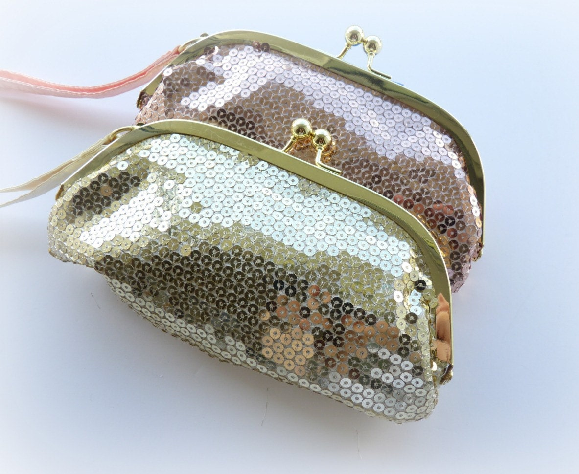 Gold Sequinned Evening Clutch Bag
