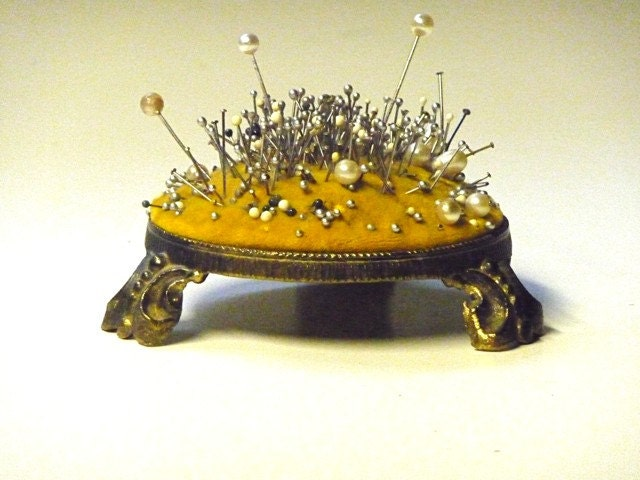Vintage antique footstool pincushion