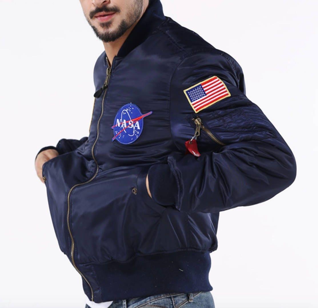 NASA MA1 Bomber Jacket Lightweight  Pilot Flight Jacket Alpha Inspired Air Foce