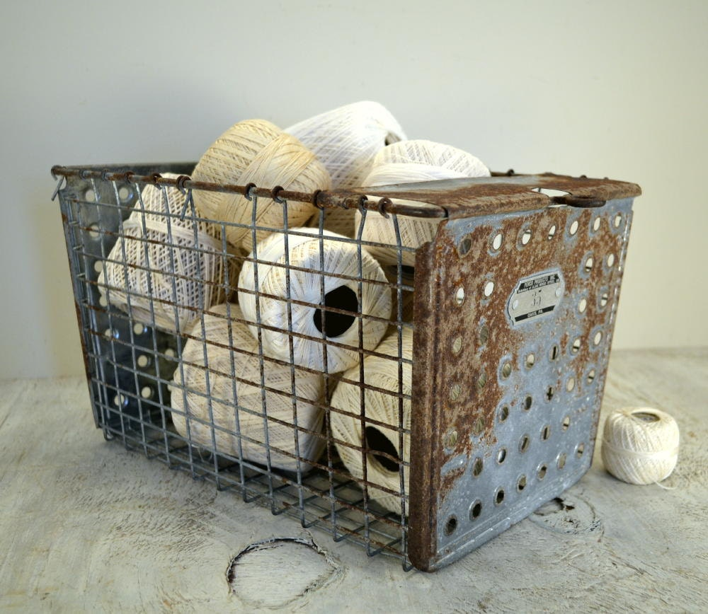 Vintage Wire Gym Locker Basket
