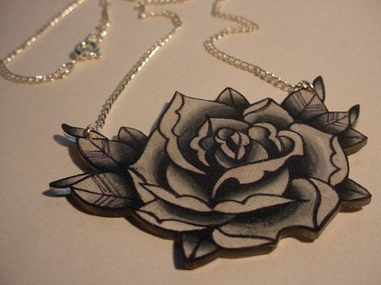 big vintage black and white surreal tattoo rose necklace