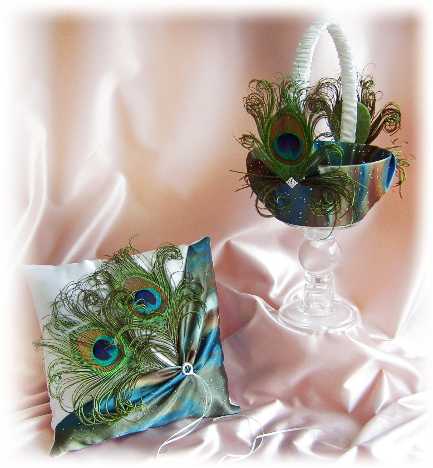 Flower Girl Baskets Peacock : Peacock feathers flower girl basket and ring bearer by