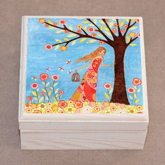 Wooden Jewelry Box Trinket Box Girl with Birdcage Painting