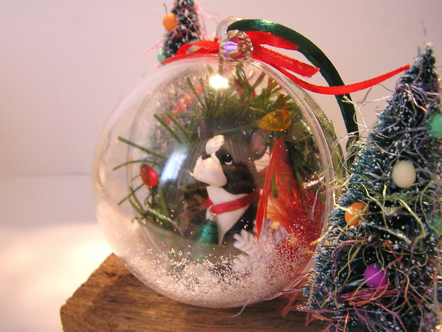 Boston Terrier Polymer Clay Dog Snow Globe Ornament by nanjodogz