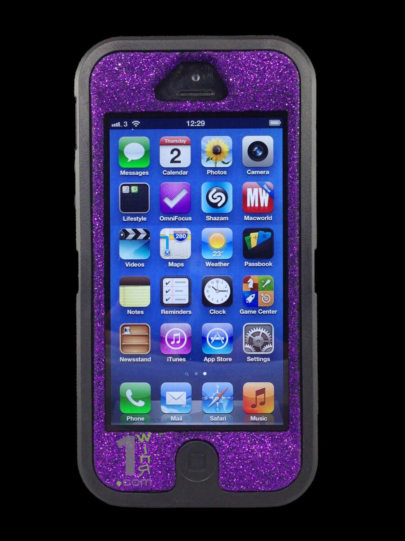 iphone 5 otterbox custom purple glitter defender case by 1winr. Black Bedroom Furniture Sets. Home Design Ideas