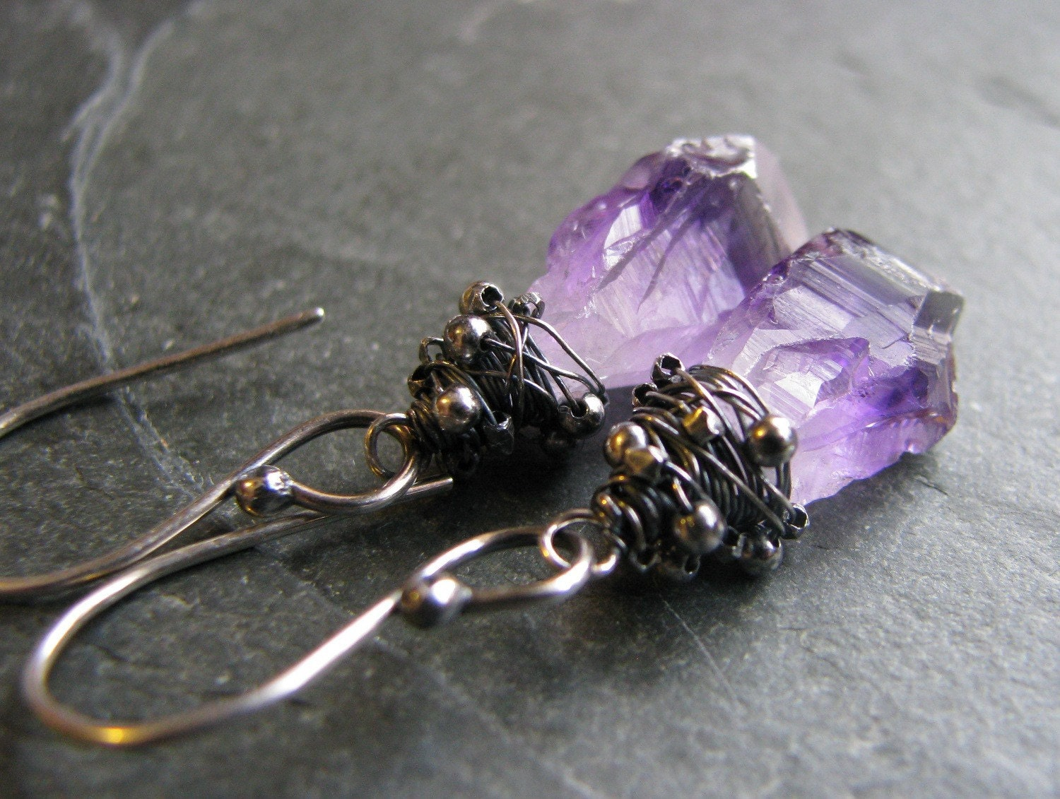 amethyst chunk earrings