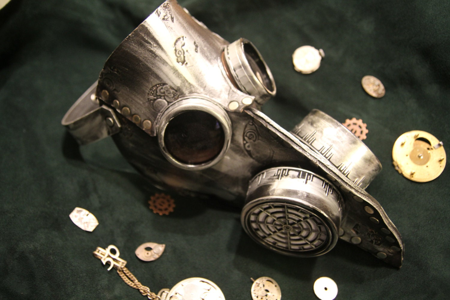 Handmade Leather Art Gas mask Steampunk Burning Man Mask with goggles - MonkeyDungeon