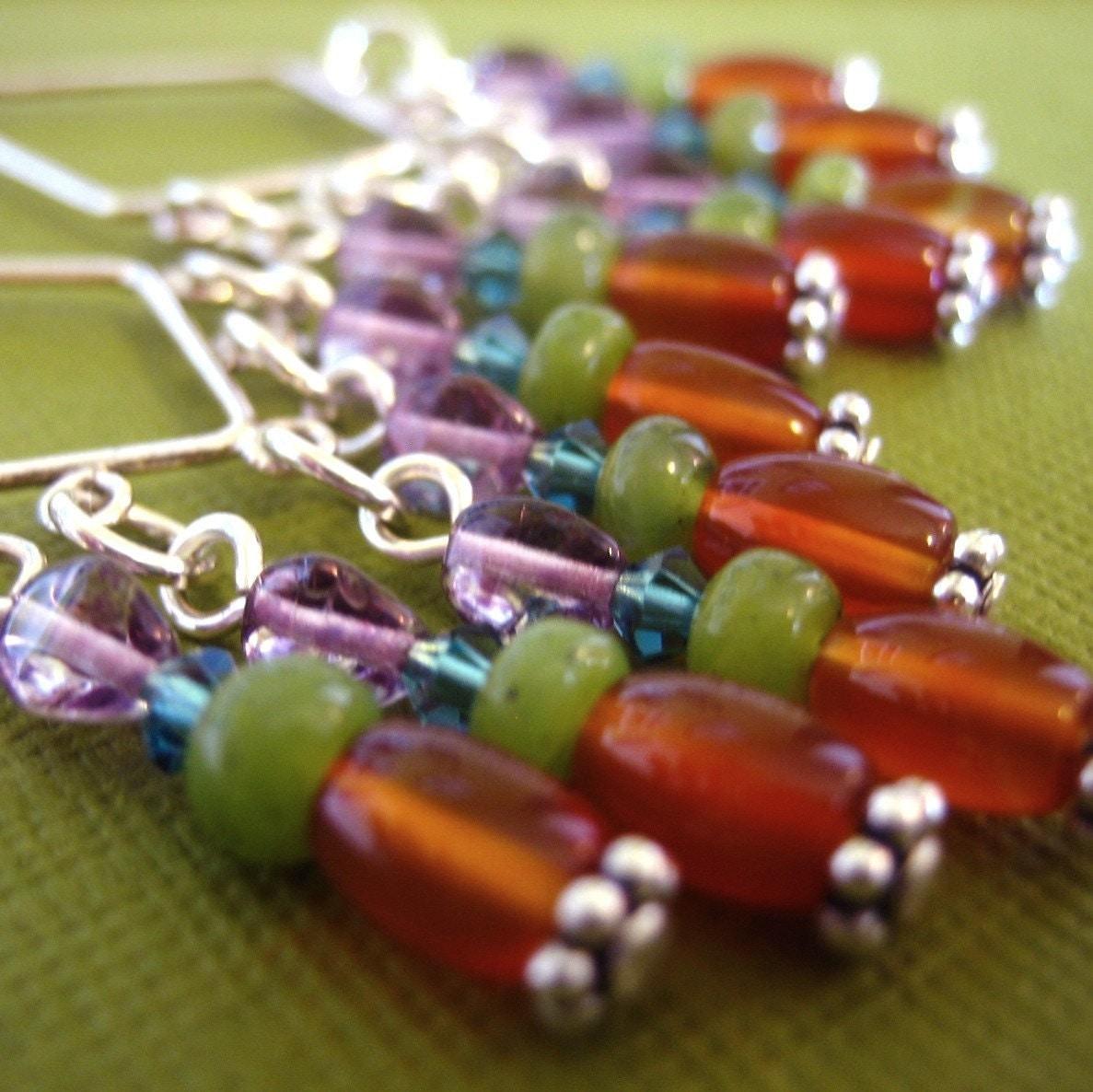 Fiesta Chandelier Earrings - Sterling Silver, Carnelian, Jade, Sapphire Swarovski, Purple Glass and Carnelian