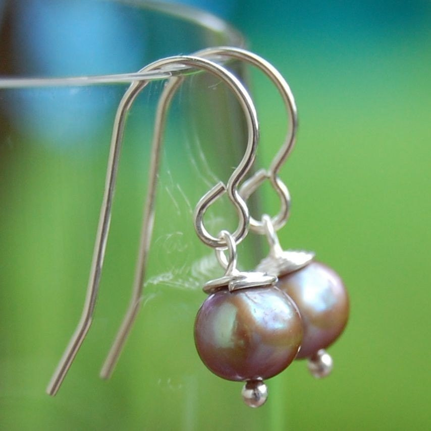 Freshwater Pearl Drops - bronze round