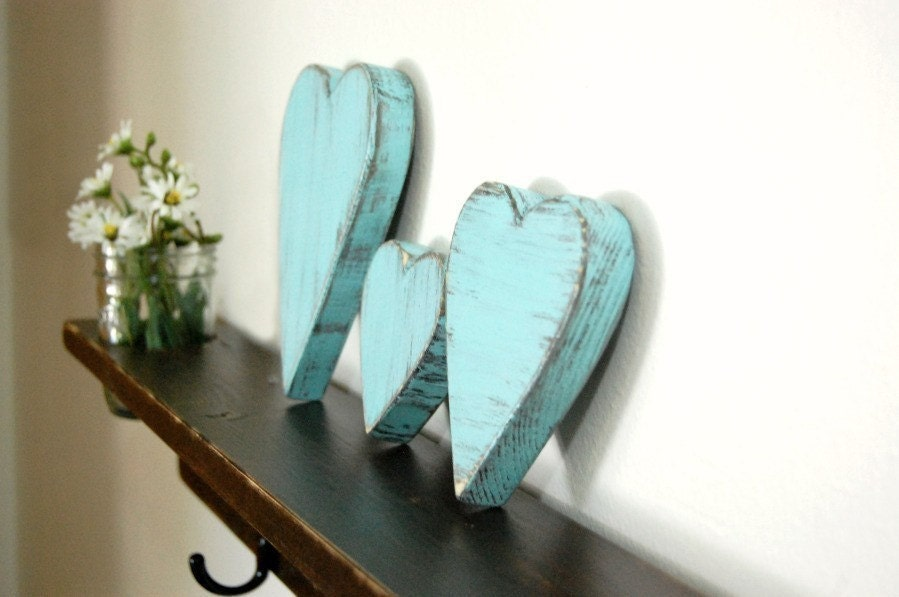 Three LIGHT TURQUOISE Distressed Hearts cottage decor