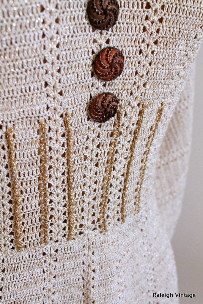 cream and gold knit dress vintage with decorative metal buttons