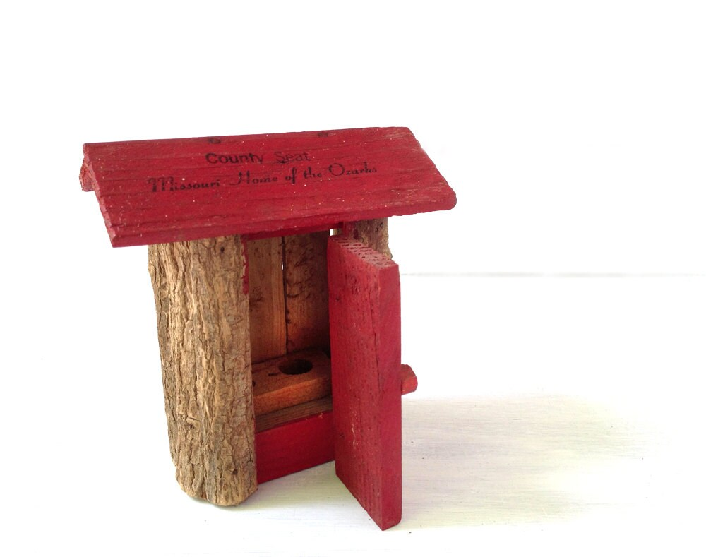 "Vintage Ozarks, Missouri souvenir, rustic red and brown miniature wooden outhouse ""County Seat,"" vacation truck stop kitsch, log house - modernpoetry"