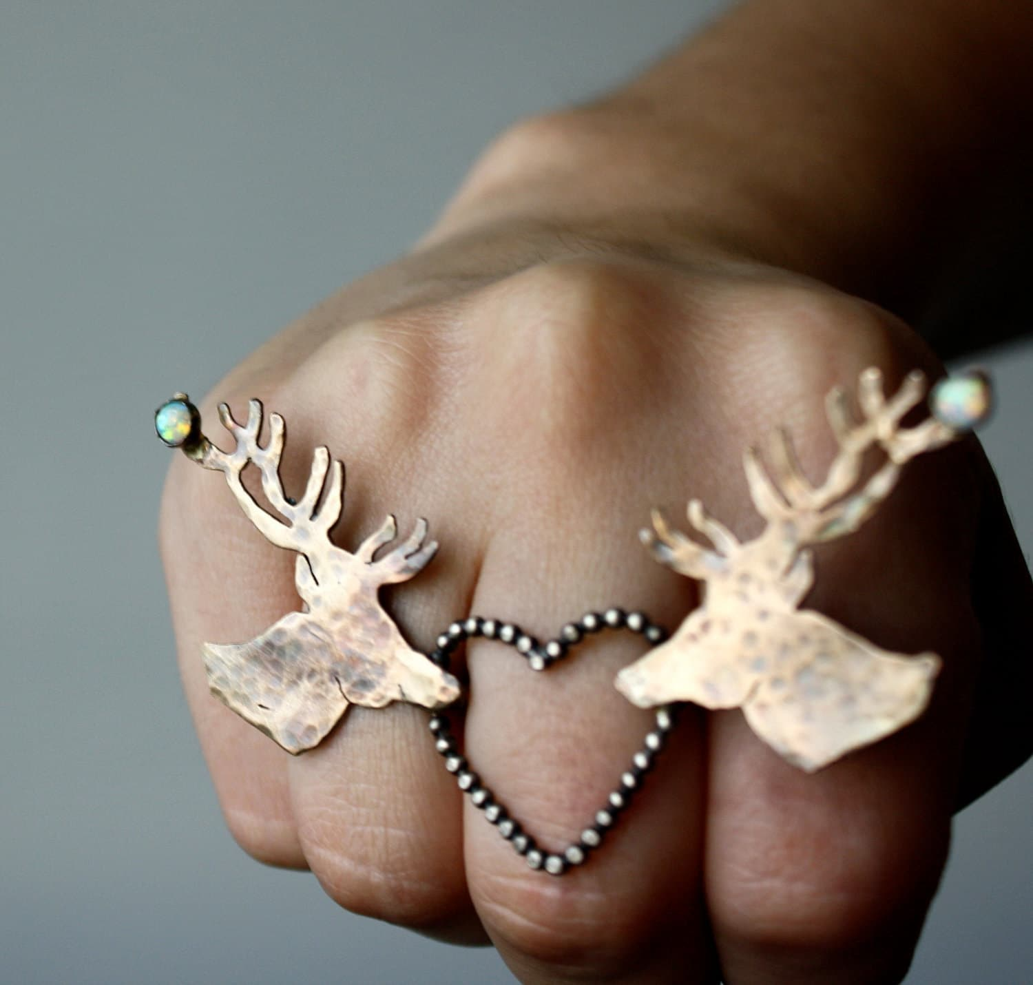 Deer In Love Knuckle Ring with Opals